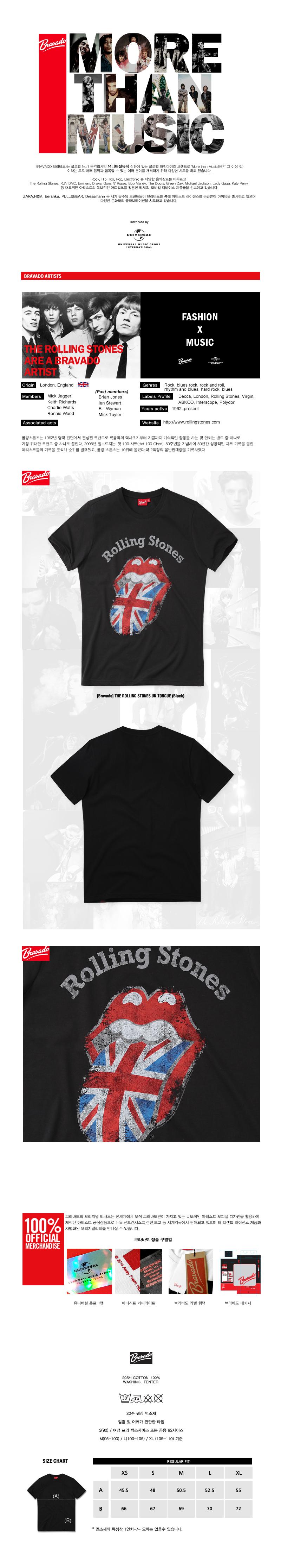 브라바도 THE ROLLING STONES UK TONGUE (Black)
