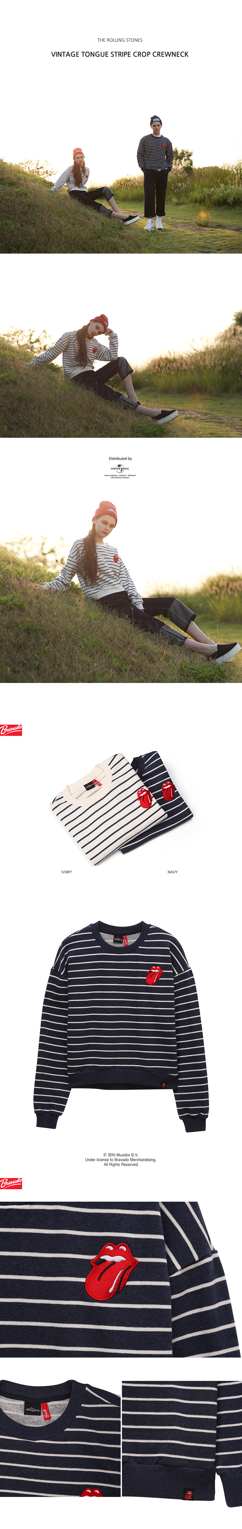 브라바도 THE ROLLING STONES VINTAGE TONGUE STRIPE CROP CREWNECK (NAVY)